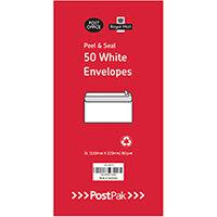Envelopes Dl Peel & Seal White 80Gsm Pack of 50 POF27426