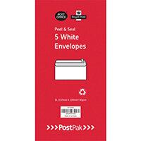 Envelopes Dl Peel & Seal White 80Gsm Pack of 5 POF27433
