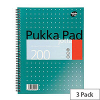 Pukka Pad A4 Wirebound Square Jotta Notepad – 3 Pack, 200 Pages, Wirebound, 4-Hole Punch, Perforations 14mm, Metallic Cover, 5mm Squared 80gsm White Paper & Easy removal (JM018SQ)