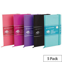 Pukka Signature Soft Cover Notebook A5 Casebound 192 Pages Assorted Pack of 5 7747-SIG