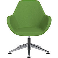 Fan Swivel Armchair with Economic Mechanism 5 Star Base Green Evo Fabric Seat & Polished Aluminium Base with Universal Teflon Glides - Perfect Seating Solution for Breakout, Reception Areas & Boardroom