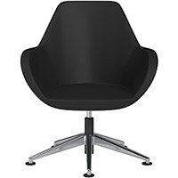 Fan Swivel Armchair with Economic Mechanism 5 Star Base Black Softline Leather Look Seat & Polished Aluminium Base with Universal Teflon Glides - Perfect Seating Solution for Breakout, Reception Areas & Boardroom