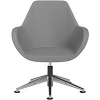 Fan Swivel Armchair with Economic Mechanism 5 Star Base Grey Valencia Leather Look Seat & Polished Aluminium Base with Universal Teflon Glides - Perfect Seating Solution for Breakout, Reception Areas & Boardroom