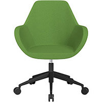 Fan Swivel Armchair with Economic Mechanism 5 Star Base Green Evo Fabric Seat & Black Base with Castors for Soft Floors - Perfect Seating Solution for Breakout, Reception Areas & Boardroom