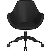 Fan Swivel Armchair with Economic Mechanism 5 Star Base Black Softline Leather Look Seat & Black Base with Castors for Soft Floors - Perfect Seating Solution for Breakout, Reception Areas & Boardroom