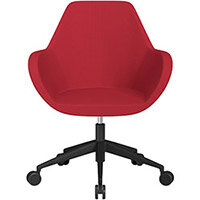 Fan Swivel Armchair with Economic Mechanism 5 Star Base Vivid Red Sprint Fabric Seat & Black Base with Castors for Soft Floors - Perfect Seating Solution for Breakout, Reception Areas & Boardroom