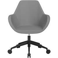 Fan Swivel Armchair with Economic Mechanism 5 Star Base Grey Valencia Leather Look Seat & Black Base with Castors for Soft Floors - Perfect Seating Solution for Breakout, Reception Areas & Boardroom
