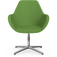 Fan Swivel Armchair with 4 Star Base Green Evo Fabric Seat & Polished Aluminium Base - Perfect Seating Solution for Breakout, Reception Areas & Boardroom