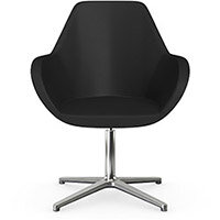 Fan Swivel Armchair with 4 Star Base Black Softline Leather Look Seat & Polished Aluminium Base - Perfect Seating Solution for Breakout, Reception Areas & Boardroom