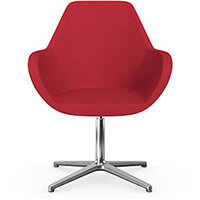 Fan Swivel Armchair with 4 Star Base Vivid Red Sprint Fabric Seat & Polished Aluminium Base - Perfect Seating Solution for Breakout, Reception Areas & Boardroom