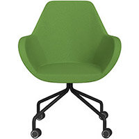Fan 4 Legged Armchair Green Evo Fabric Seat & Black Base with Decorative Castors - Perfect Seating Solution for Breakout, Reception Areas & Boardroom