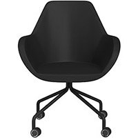 Fan 4 Legged Armchair Black Softline Leather Look Seat & Black Base with Decorative Castors - Perfect Seating Solution for Breakout, Reception Areas & Boardroom
