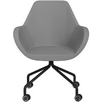 Fan 4 Legged Armchair Grey Valencia Leather Look Seat & Black Base with Decorative Castors - Perfect Seating Solution for Breakout, Reception Areas & Boardroom