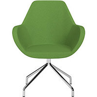 Fan 4 Legged Swivel Armchair Green Evo Fabric Seat & Chrome Base with Universal Teflon Glides  - Perfect Seating Solution for Breakout, Reception Areas & Boardroom