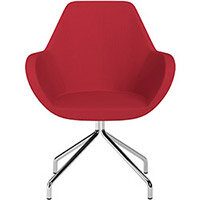 Fan 4 Legged Swivel Armchair Vivid Red Sprint Fabric Seat & Chrome Base with Universal Teflon Glides  - Perfect Seating Solution for Breakout, Reception Areas & Boardroom
