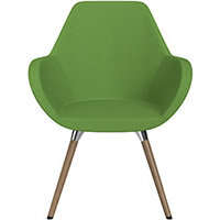 Fan Armchair with Wooden Legs Green Evo Fabric Seat & Brown H12 Lacquer Base with Universal Teflon Glides  - Perfect Seating Solution for Breakout, Reception Areas & Boardroom