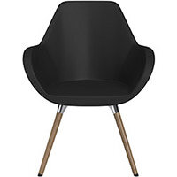 Fan Armchair with Wooden Legs Black Softline Leather Look Seat & Brown H12 Lacquer Base with Universal Teflon Glides  - Perfect Seating Solution for Breakout, Reception Areas & Boardroom