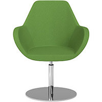 Fan Swivel Round Base Armchair Green Evo Fabric Seat & Chrome Base - Perfect Seating Solution for Breakout, Reception Areas & Boardroom
