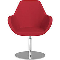 Fan Swivel Round Base Armchair Vivid Red Sprint Fabric Seat & Chrome Base - Perfect Seating Solution for Breakout, Reception Areas & Boardroom