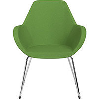 Fan Armchair with Cantilever Legs Green Evo Fabric Seat & Chrome Base with Felt Glides for Hard Floors - Perfect Seating Solution for Breakout, Reception Areas & Boardroom