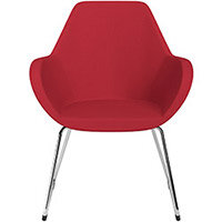 Fan Armchair with Cantilever Legs Vivid Red Sprint Fabric Seat & Chrome Base with Felt Glides for Hard Floors - Perfect Seating Solution for Breakout, Reception Areas & Boardroom