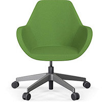 Fan Swivel Five Star Base Green Evo Fabric Seat & Metallic Silver Base with Castors for Hard Floors - Perfect Seating Solution for Breakout, Reception Areas & Boardroom