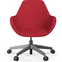 Fan Swivel Five Star Base Vivid Red Sprint Fabric Seat & Metallic Silver Base with Castors for Hard Floors - Perfect Seating Solution for Breakout, Reception Areas & Boardroom