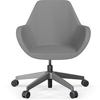 Fan Swivel Five Star Base Grey Valencia Leather Look Seat & Metallic Silver Base with Castors for Hard Floors - Perfect Seating Solution for Breakout, Reception Areas & Boardroom