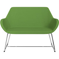 Fan 2 Seater Sofa with Cantilever Legs Green Evo Fabric Seat & Chrome Base with Felt Glides for Hard Floors - Perfect Seating Solution for Breakout & Reception Areas
