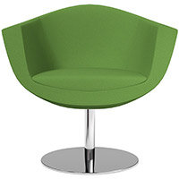 Sorriso Armchair with Round Base Green Evo Fabric Seat & Chrome Base with Standard Glides - Perfect Seating Solution for Breakout, Reception Areas & Boardroom