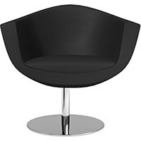 Sorriso Armchair with Round Base Black Softline Leather Look Seat & Chrome Base with Standard Glides - Perfect Seating Solution for Breakout, Reception Areas & Boardroom