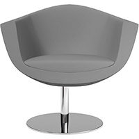 Sorriso Armchair with Round Base Grey Valencia Leather Look Seat & Chrome Base with Standard Glides - Perfect Seating Solution for Breakout, Reception Areas & Boardroom