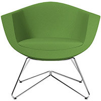 Sorriso Armchair with Wire Frame Green Evo Fabric Seat & Chrome Base with Universal Teflon Glides - Perfect Seating Solution for Breakout, Reception Areas & Boardroom