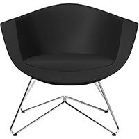 Sorriso Armchair with Wire Frame Black Softline Leather Look Seat & Chrome Base with Universal Teflon Glides - Perfect Seating Solution for Breakout, Reception Areas & Boardroom