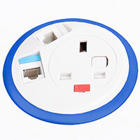 Pixel In-surface Power Module with 1 x UK Socket, 2 x RJ45 Sockets - White