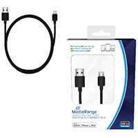 Reviva 3A Twin USB In Car Charger + MediaRange Chrg Sync Cbl USB 2.0 to Apple Lightng Bundle REV12502