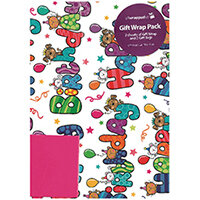 Regent Packaged Wrap Happy Birthday Text Wrap Pack of 12 F278