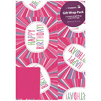 Regent Packaged Wrap Pink Happy Birthday Pack of 12 F349