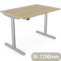 RoundE Height Adjustable Rectangular Home Office Sit Stand Desk Portal Top W1200xD700xH650-1150mm Urban Oak Top Silver Frame