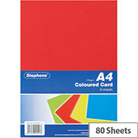 Stephens A4 Card 8 Sheets Assorted Pack of 10 RS242451
