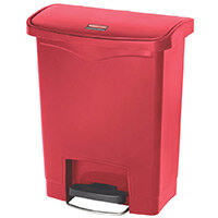 Rubbermaid Resin Slim Jim 30 Litre Front Step Step-On Pedal Bin Red