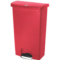 Rubbermaid Resin Slim Jim 68 Litre Front Step Step-On Pedal Bin Red