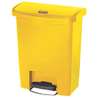 Rubbermaid Resin Slim Jim 30 Litre Front Step Step-On Pedal Bin Yellow