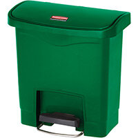 Rubbermaid Resin Slim Jim 15 Litre Front Step Step-On Pedal Bin Green