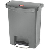 Rubbermaid Resin Slim Jim 30 Litre Front Step Step-On Pedal Bin Grey