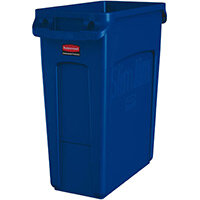 Rubbermaid 60L Slim Jim Plastic Rubbish Bin With Venting Channels Waste Receptacle Blue