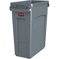 Rubbermaid 60L Slim Jim Plastic Rubbish Bin With Venting Channels Waste Receptacle Grey