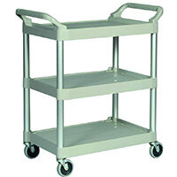Rubbermaid Light Duty Utility Cart 3 Shelf Service Cart Platinum