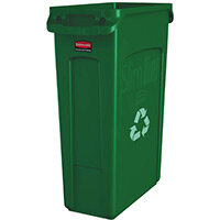 Rubbermaid Slim Jim 87L Waste Container With Venting Channels Green