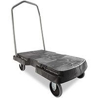 Rubbermaid Triple Platform Trolley with Castors 2 Fixed & 2 Swivel 181kg Capacity L826xW521mm Black